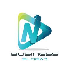 letter n media logo vector image vector image