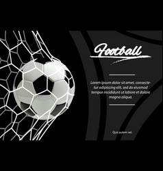 realistic soccer ball in net isolated on black vector image