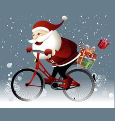 Santa Claus riding a bike vector image