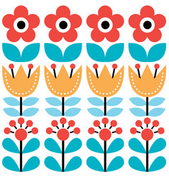 scandinavian seamless pattern swedish folk art vector image vector image