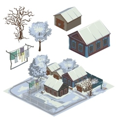 Winter landscape with several snow-covered houses vector