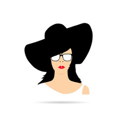 Woman head with hat fashion silhouette vector