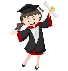 Woman in graduation gown and certificate vector image vector image