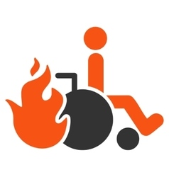 Burn patient flat icon vector