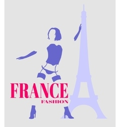 Sexy woman silhouette France fashion and eiffel vector image