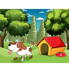A dog with a doghouse and a dogfood near the trees vector
