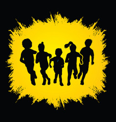 Group of children running graphic vector