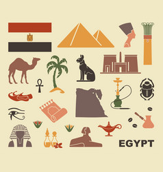 Traditional symbols of egypt vector