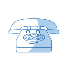 kawaii telephone communication device call cartoon vector image