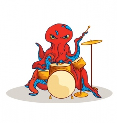 Octopus on drums vector