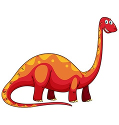 Long neck red dinosaur on white vector