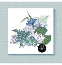 Vintage pond watery flowers greeting card vector