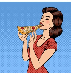 Woman Eating Pizza Young Woman Pop Art vector image