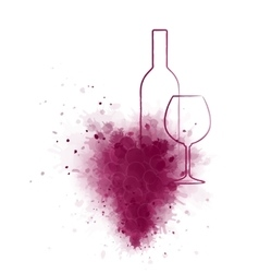 wine bottle and glass with grunge grape vector image