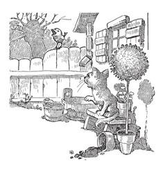 A cartoon of a cat giving advice to a bird on a vector
