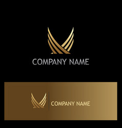 Abstract wing gold company logo vector