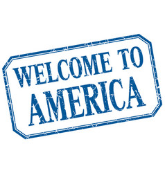 America - welcome blue vintage isolated label vector