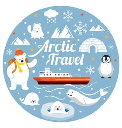 Arctic travel label vector