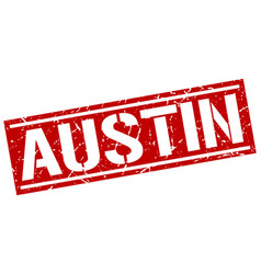 Austin red square stamp vector