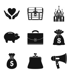 Beneficence icons set simple style vector
