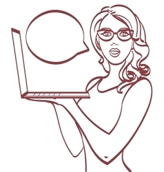 Business woman with laptop Pop art style eps 10 vector image