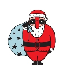 Character of santa claus in glasses vector