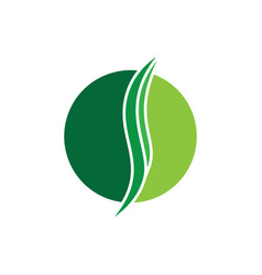 Circle green leaves and ecology logo image vector