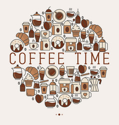 coffee time concept in circle with thin line icons vector image vector image
