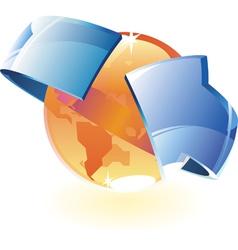 Earth orange and arrow vector image vector image