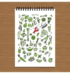 Green vegetable set detox Sketch for your design vector image
