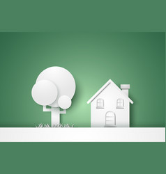 House with tree concept paper art style vector