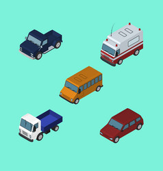 Isometric transport set of first-aid car autobus vector