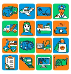 Logistic cartoon icons color vector