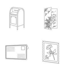 mailbox congratulatory card postage stamp vector image