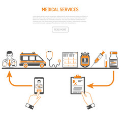 medicine and healthcare process concept vector image vector image
