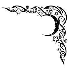 Moon stars border vector image