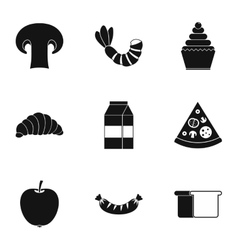 Morning breakfast icons set simple style vector