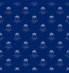 seamless travel pattern with liner line style vector image vector image
