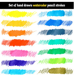 set of hand drawn watercolor pencil strokes vector image vector image