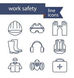 Set of line icons for safety work vector