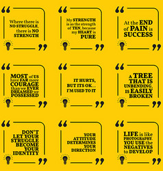 Set of motivational quotes about struggle strength vector