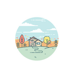 suburban house in autumn vector image