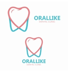tooth and heart logo template vector image vector image