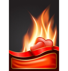 valentines day background with burning heart eps vector image
