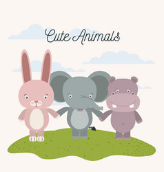White background with color scene rabbit elephant vector