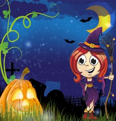 Witch girl and jack o lantern vector