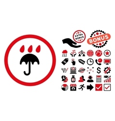 Rain protection flat icon with bonus vector