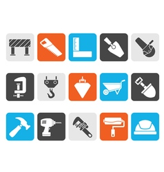 Silhouette construction industry and tools icons vector