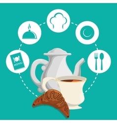 Breakfast tea pot bread croissant badge green vector