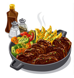 Roastbeef with vegetables vector